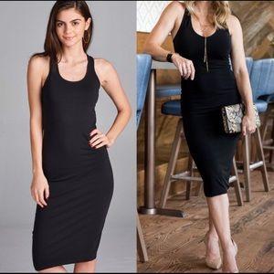 Dresses & Skirts - JUST IN!! ⭐️🔥Black Racerback Midi Tank Dress! 🖤